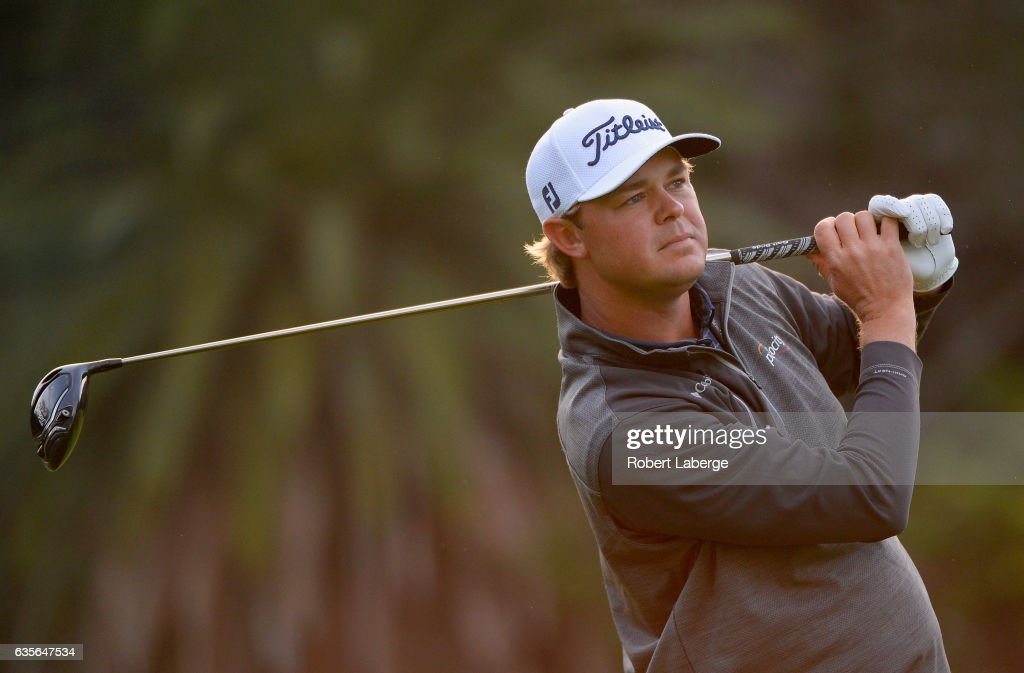 Patton Kizzire plays his shot from the second tee during the first round at the Genesis Open at Riviera Country Club on February 16, 2017 in Pacific Palisades, California.
