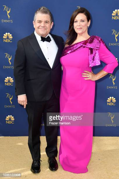 Patton Oswalt and Meredith Salenger attend the 70th Emmy Awards at Microsoft Theater on September 17 2018 in Los Angeles California