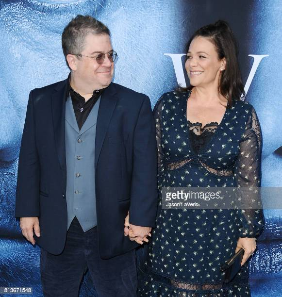 Patton Oswalt and Meredith Salenger attend the season 7 premiere of 'Game Of Thrones' at Walt Disney Concert Hall on July 12 2017 in Los Angeles...