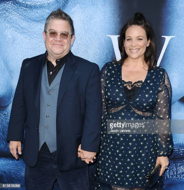 Patton Oswalt and Meredith Salenger attend the season 7 premiere of Game Of Thrones at Walt Disney Concert Hall on July 12 2017 in Los Angeles...
