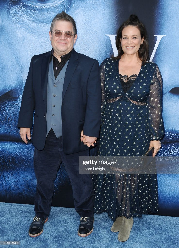 Patton Oswalt and Meredith Salenger attend the season 7 premiere of 'Game Of Thrones' at Walt Disney Concert Hall on July 12, 2017 in Los Angeles, California.