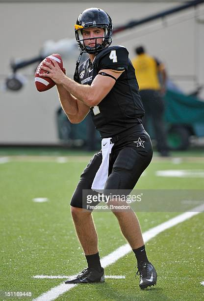 Patton Robinette of the Vanderbilt Commodores warms up prior to a game against the South Carolina Gamecocks at Vanderbilt Stadium on August 30, 2012...