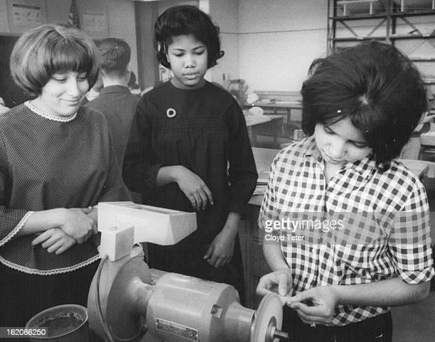 1966 FEB 26 1966 MAR 16 1966 Patty Broncucia left and melody Alexander watch Debbie Gozeleyz Polish The girls in the plastic club meet each Wednesday...