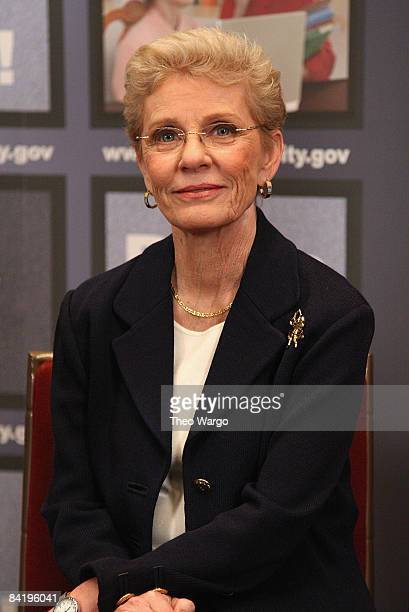 Patty Duke speaks at the national premiere of her Social Security public service announcement at the Paley Center for Media on January 6 2009 in New...
