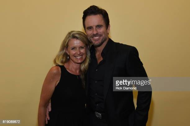 Patty Hanson and Charles Esten take photos for Charles Esten's #OneSingleYear Celebration Concert at CMA Theater at the Country Music Hall of Fame...