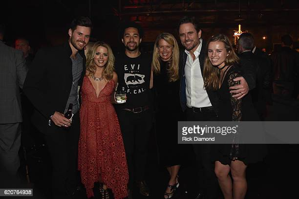 Patty Hanson Charles Esten Taylor Puskar pose with friends during the Big Machine Label Group's celebration of the 50th Annual CMA Awards at Marathon...