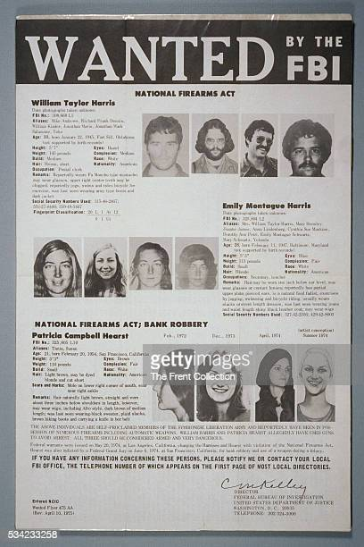 Patty Hearst FBI wanted poster depicting her and the other two surviving members of the Symbionese Liberation Army William and Emily Harris All were...