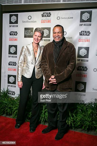 Patty Isacson Sabee and Billy Dee Williams at Star Wars and the Power of Costume opening exhibit at EMP Museum at Seattle Center on January 30 2015...