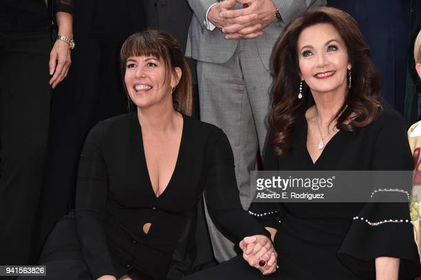 Patty Jenkins and Lynda Carter attend a ceremony honoring Lynda Carter with the 2632nd star on the Hollywood Walk of Fame on April 3 2018 in...