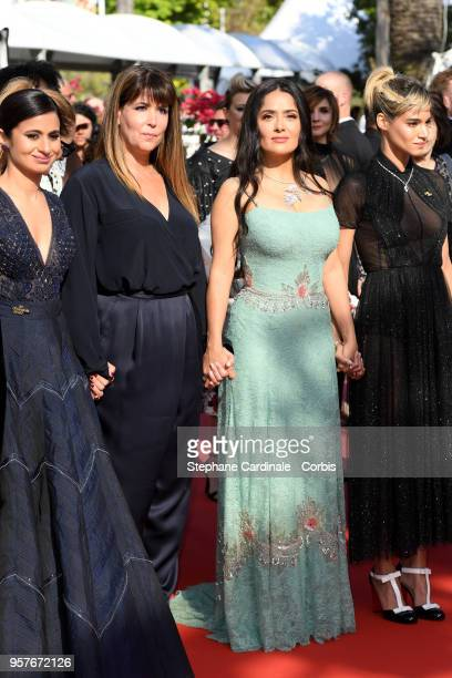 Patty Jenkins and Salma Hayek attend the screening of 'Girls Of The Sun ' during the 71st annual Cannes Film Festival at Palais des Festivals on May...