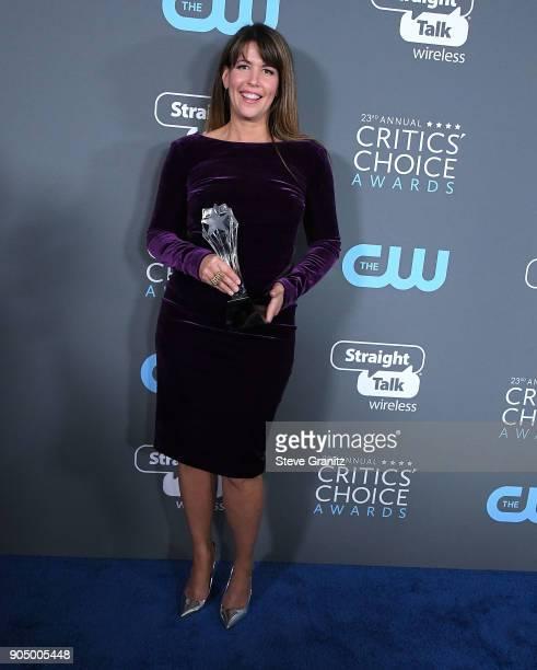 Patty Jenkins poses at the The 23rd Annual Critics' Choice Awards at Barker Hangar on January 11 2018 in Santa Monica California