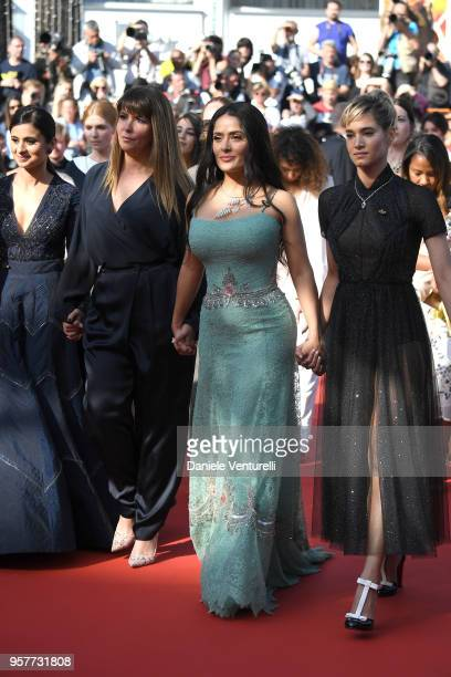 Patty Jenkins Salma Hayek and Sofia Boutella walk on the red carpet in protest of the lack of female filmmakers honored throughout the history of the...