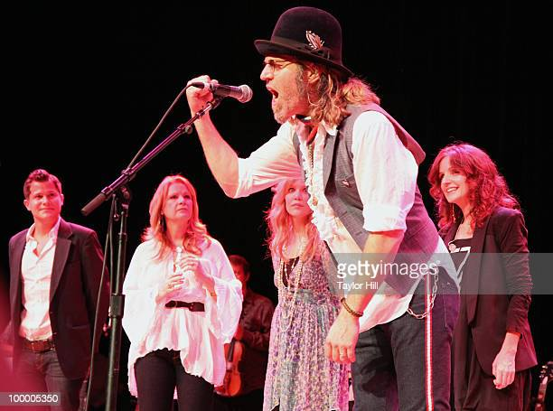 Patty Loveless Allison Krauss Big Kenny Alphin and and Patty Griffin perform during the Music Saves Mountains benefit concert at the Ryman Auditorium...