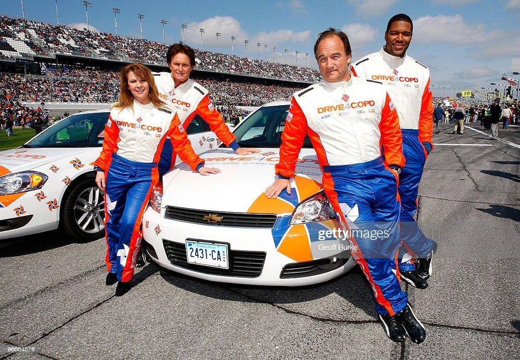 Patty Loveless, Bruce Jenner, Jim Belushi and Michael Strahan pose prior to the NASCAR Nationwide Series Drive4COPD 300 at Daytona International Speedway on February 13, 2010 in Daytona Beach, Florida.