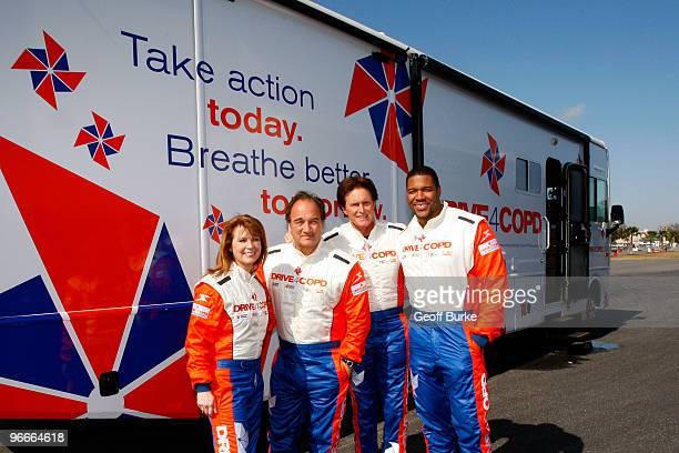Patty Loveless Jim Belushi Bruce Jenner and Michael Strahan pose prior to the NASCAR Nationwide Series Drive4COPD 300 at Daytona International...