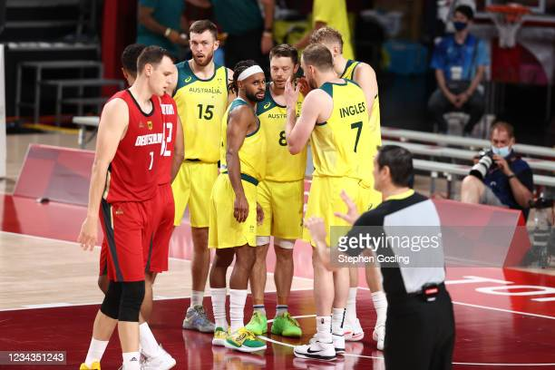 Patty Mills and Joe Ingles talk with the Australia Men's National Team during the game against the Germany Men's National Team during the 2020 Tokyo...