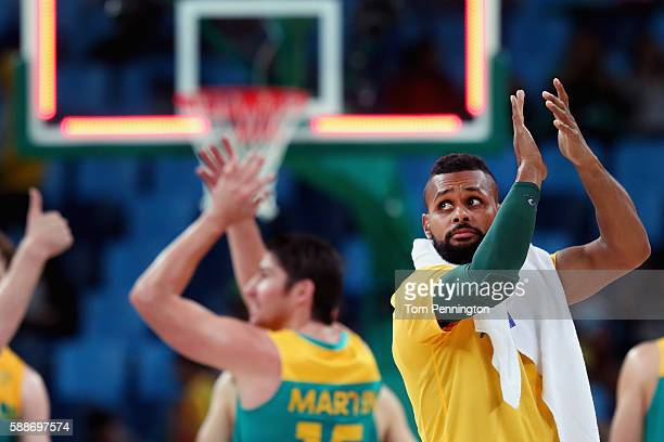 Patty Mills of Australia celebrates after beating China during the Men's Basketball Preliminary Round Group A China vs Australia on Day 7 of the Rio...