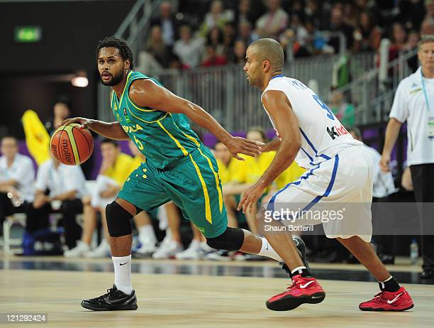 Patty Mills of Australia in action during the London Prepares Series match between France and Australia at the Basketball Arena on August 17 2011 in...