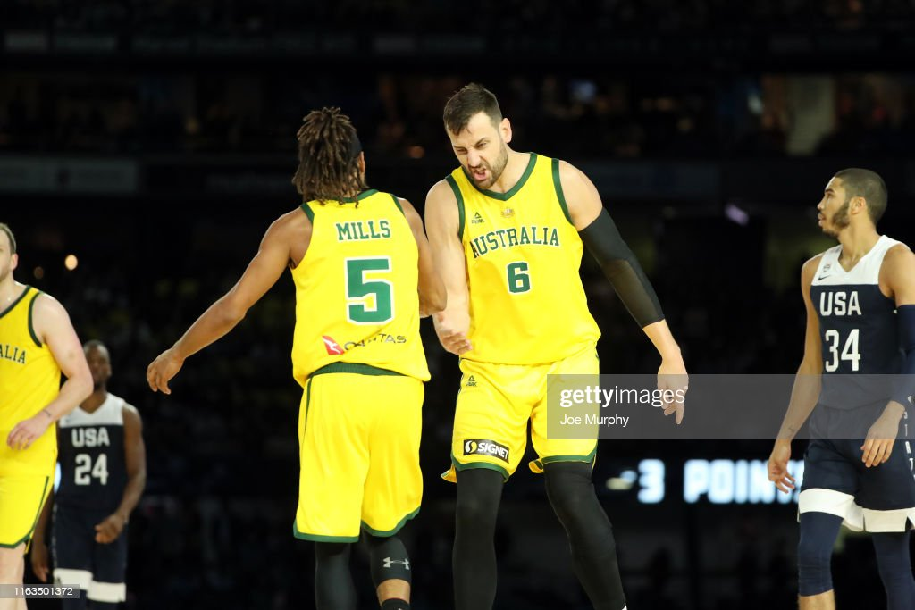 meet 0be0b 396f1 Patty Mills of the Australian Boomers and Andrew Bogut react ...