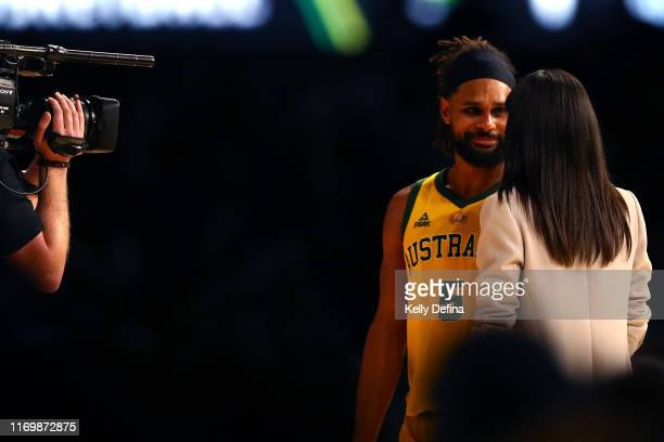 Patty Mills of the Boomers speaks to media after the Boomers win during game two of the International Basketball series between the Australian...