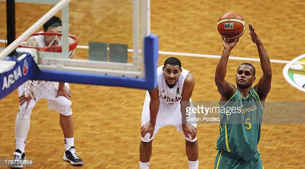 Patty Mills of the Boomers takes a free throw during the Men's FIBA Oceania Championship match between the Australian Boomers and the New Zealand...