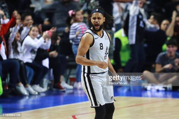 Patty Mills of the San Antonio Spurs celebrates during a game between San Antonio Spurs and Phoenix Suns at Arena Ciudad de Mexico on December 14...