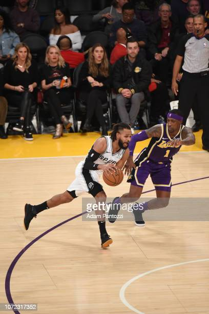 Patty Mills of the San Antonio Spurs drives to the basket against the Los Angeles Lakers on December 5 2018 at STAPLES Center in Los Angeles...