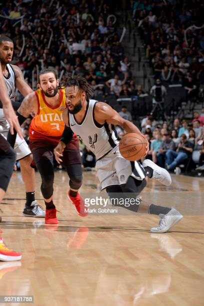 Patty Mills of the San Antonio Spurs handles the ball against the Utah Jazz on March 23 2018 at the ATT Center in San Antonio Texas NOTE TO USER User...