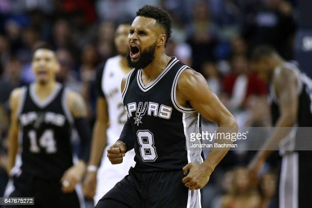 Patty Mills of the San Antonio Spurs reacts after scoring during overtime of a game against the New Orleans Pelicans at the Smoothie King Center on...
