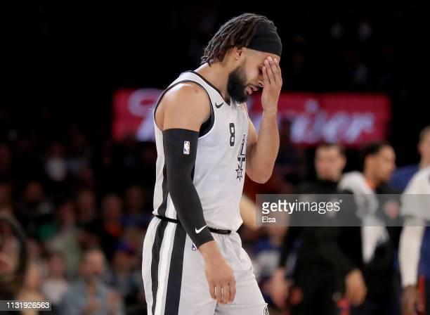 Patty Mills of the San Antonio Spurs reacts in the fourth quarter against the New York Knicks at Madison Square Garden on February 24 2019 in New...