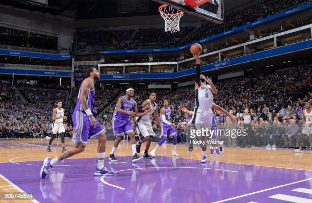 Patty Mills of the San Antonio Spurs shoots a layup against the Sacramento Kings on January 8 2018 at Golden 1 Center in Sacramento California NOTE...