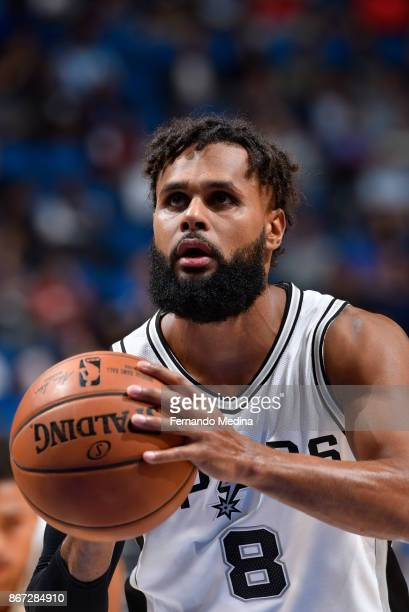 Patty Mills of the San Antonio Spurs shoots the ball against the Orlando Magic on October 27 2017 at Amway Center in Orlando Florida NOTE TO USER...