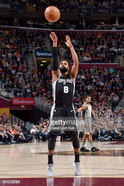 Patty Mills of the San Antonio Spurs shoots the ball against the Cleveland Cavaliers on February 25 2018 at Quicken Loans Arena in Cleveland Ohio...