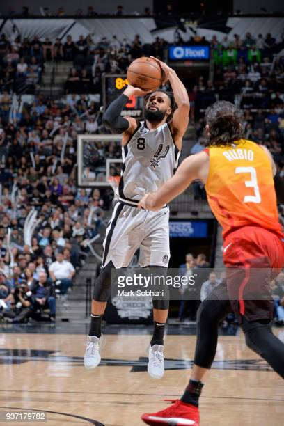Patty Mills of the San Antonio Spurs shoots the ball against the Utah Jazz on March 23 2018 at the ATT Center in San Antonio Texas NOTE TO USER User...