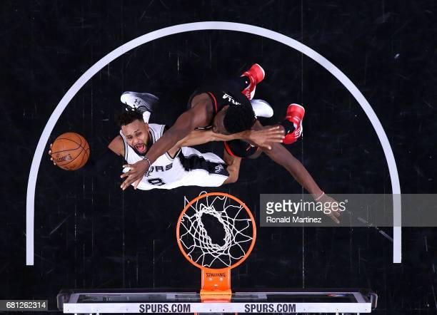 Patty Mills of the San Antonio Spurs takes a shot against Clint Capela of the Houston Rockets during Game Five of the Western Conference SemiFinals...