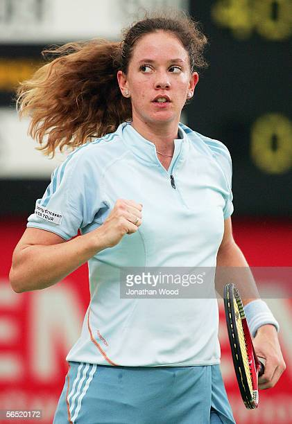 Patty Schnyder of Switzerland celebrates victory in her match against Angela Haynes of the USA during the WTA Mondial Australian Women's Hardcourts...