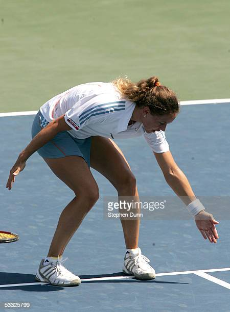 Patty Schnyder of Switzerland complains about a call while playing against Francesca Schiavone of Italy during the Acura Classic on August 4 2005 at...