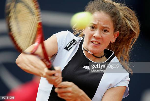 Patty Schnyder of Switzerland in action against Kim Clijsters of Belgium during the Qatar Total German Open on May 5 2005 in Berlin Germany