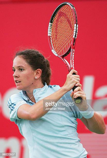 Patty Schnyder of Switzerland in action during her match against Angela Haynes of the USA during the WTA Mondial Australian Women's Hardcourts at...