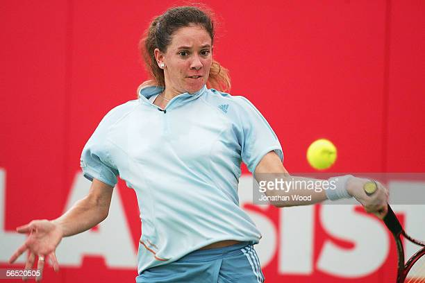 Patty Schnyder of Switzerland plays a forehand during her match against Angela Haynes of the USA during the WTA Mondial Australian Women's Hardcourts...