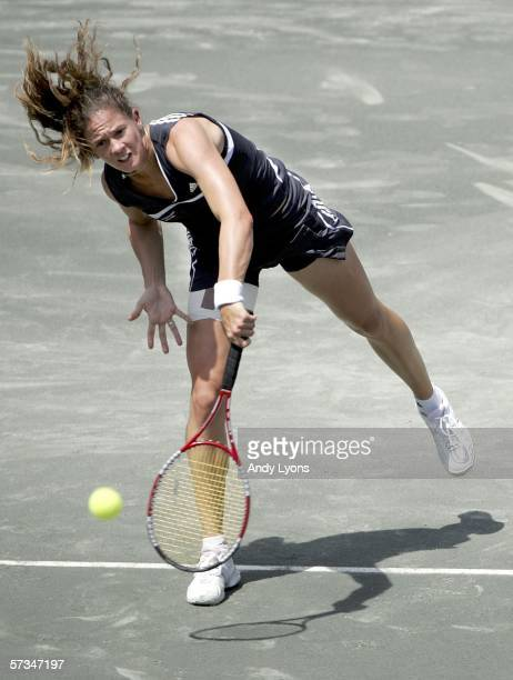 Patty Schnyder of Switzerland serves to Nadia Petrova of Russia during the Family Circle Cup final on April 16 2006 at the Family Circle Tennis...
