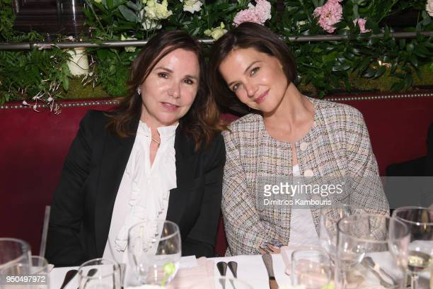 Patty Smyth and Katie Holmes attend the CHANEL Tribeca Film Festival Artists Dinner at Balthazar on April 23 2018 in New York City