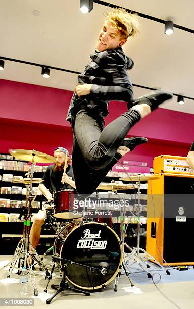 Patty Walters and Patrick Foley of As It Is perform live and sign copies of their debut album 'Never Happy Ever After' at HMV on April 24 2015 in...