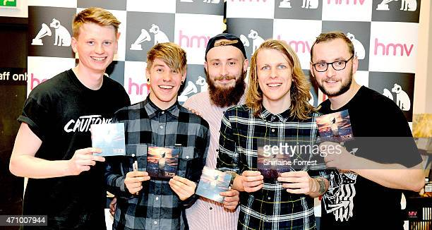 Patty Walters Ben Biss Andy Westhead Alistair Testo and Patrick Foley of As It Is perform live and sign copies of their debut album 'Never Happy Ever...