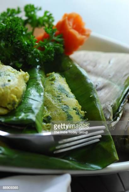 Paturi Chicken served at Oh Calcutta Restaurant in New Delhi India