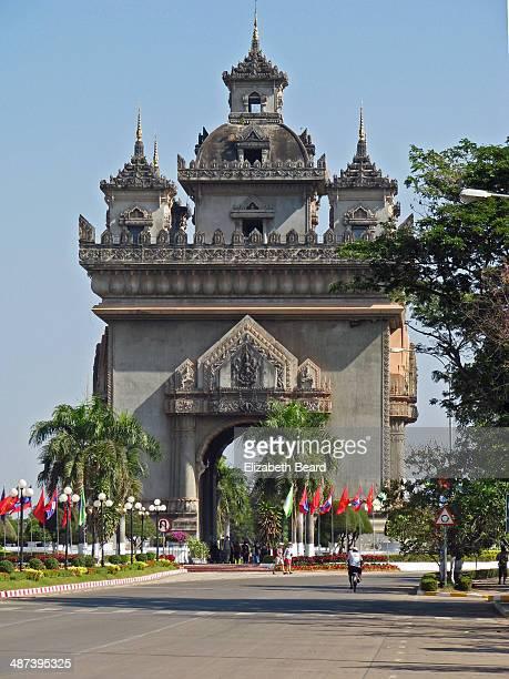 patuxai monument, vientiane, laos - laotian culture stock pictures, royalty-free photos & images