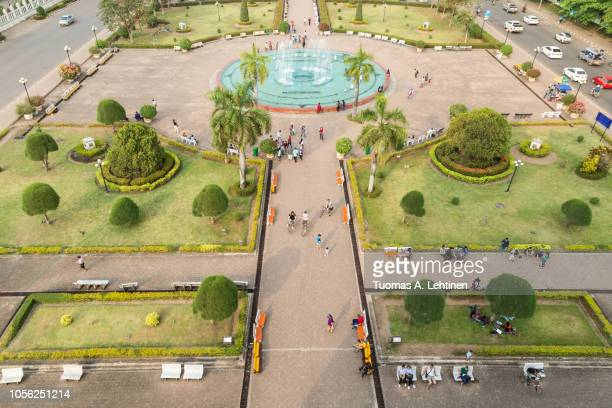 patuxai park viewed from above in vientiane - laotian culture stock pictures, royalty-free photos & images