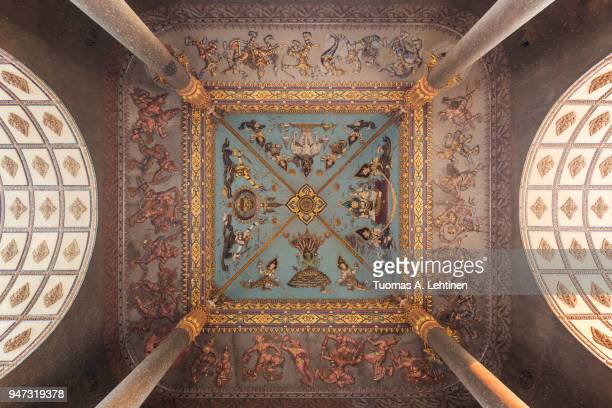 patuxai's interior decoration in vientiane - hinduism stock pictures, royalty-free photos & images
