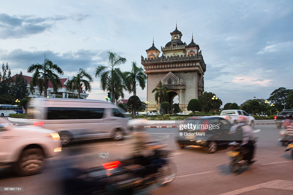 Patuxay monument in Vientiane in Laos : Stock Photo