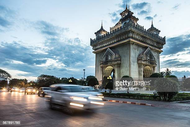 patuxay monument in vientiane in laos - didier marti stock photos and pictures